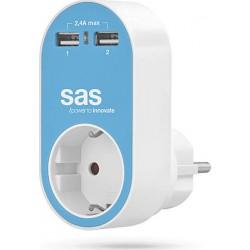 Ανταπτορ 2Χ USB+πριζα (ΜΠΛΕ)